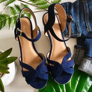 AEO Blue Suede Espadrille Wedge Sandals
